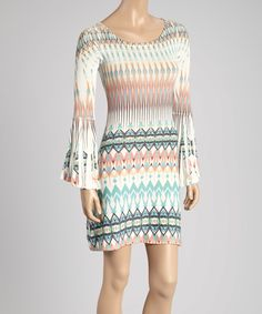 Another great find on #zulily! Green & Blue Abstract Flare-Sleeve Dress by Casa Lee #zulilyfinds