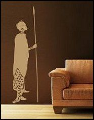 Woman from Africa wall decal mural sticker-african theme bedroom wall decor (this beats the statue he wants, less pointy, but it will have to be a guy not a girl lol)
