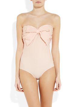 MIU MIU Bow-embellished bandeau one piece swimsuit
