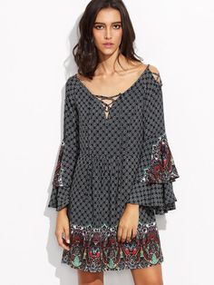 Spring Summer Plus Size Fashion Women Dress Flare Sleeve Vintage Floral Print Sexy Hollow Out V-Neck Loose Casual Dresses