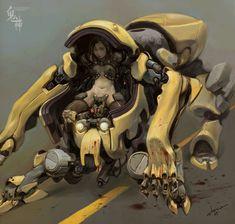 Drawings of the artist stone JH, Mech, cyberpunk Arte Robot, Robot Concept Art, Futuristic Art, Ex Machina, Robot Design, Cyberpunk Art, Science Fiction Art, Shadowrun, Sci Fi Art
