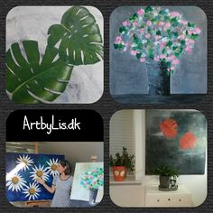 Malerier i indretning Paintings with flowers in different shapes