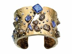 Cuff by Ginny Dizon - natural brown and faceted blue tanzanites