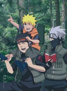 Obito Kakashi and Naruto Anime Naruto, Naruto Fan Art, Naruto Funny, Naruto And Sasuke, Manga Anime, Kakashi Hatake, Madara Uchiha, Naruto Shippuden Anime, Wallpapers Naruto