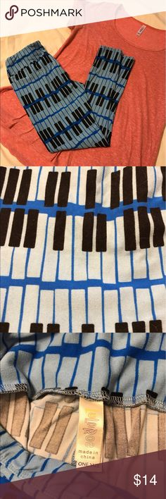 EUC OS lularoe blue piano keys leggings EUC OS lularoe blue piano keys leggings. Fun print! LuLaRoe Pants Leggings