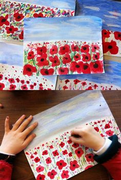 Poppy field perspective painting - Remembrance Day art project - B-after Poppy Craft For Kids, Art For Kids, Crafts For Kids, Remembrance Day Activities, Remembrance Day Poppy, Paper Plate Poppy Craft, Memorial Day Poppies, Veterans Day Poppy, Anzac Day