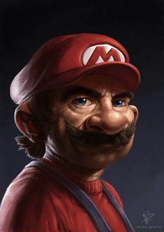 Super Mario Character Portrait - Created by Nuño Benito Mario And Luigi, Mario Bros, Character Portraits, Character Art, Realistic Cartoons, Super Mario Art, Dark Disney, Dope Art, Video Game Art