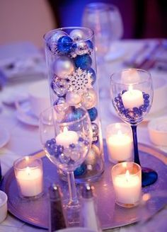 plum and silver wedding centerpieces - I Love the bulbs!!! It's Christmas season so it's very affordable!