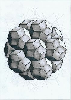 Drawing rhombic triacontahedra rhombuses) to fit a icosahedron frame Geometric Mandala, Geometric Drawing, Mandala Drawing, Geometric Designs, Op Art, Sacred Geometry Art, Math Art, 3d Drawings, Drawing Designs