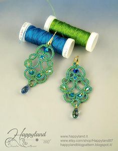 ENGLISH and ITALIAN LANGUAGE , with a lot of photos step by step Material requirements: polyester or metallic thread , needle , Swarovski or other for decoration , as you wish After notification of sale and payment the PDF will be available for downloa Tatting Earrings, Tatting Jewelry, Lace Jewelry, Tatting Lace, Fabric Jewelry, Diy Jewelry, Crochet Earrings, Handmade Jewelry, Jewellery