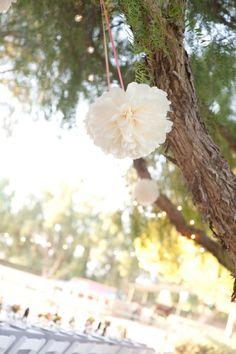 Outdoor Pom Pom Wedding Decor