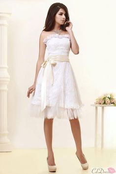 A-line Strapless Knee-length Short Lace Wedding Dress with Sash - A-Line Dresses - Wedding Dresses - CDdress.com @Lynsey Griffith