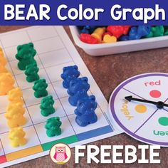 A free color graph activity that can be used to practice color sorting, counting, number comparisons and many other early math concepts for preschool, pre-k, tot school, kindergarten, and early childhood education.  The activity includes a printable color graph, spinner and printable bears..