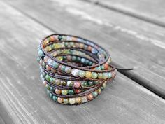 Hey, I found this really awesome Etsy listing at https://www.etsy.com/ca/listing/255682231/leather-agate-bracelet-agate-wrap