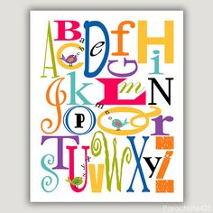 ABC BIRDS, typographical print, 8x10,  nursery art, colorful alphabet, bright colors, childrens art on Etsy, $15.00