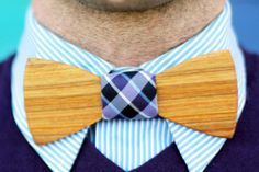 wooden bow tie! - Read More on One Fab Day http://onefabday.com/two-guys-bow-tie-wooden-bow-ties-for-grooms/