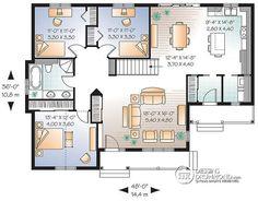 Plan de Rez-de-chaussée Bungalow économique à l'américaine, 3 chambres, grand salon - Pommeraie