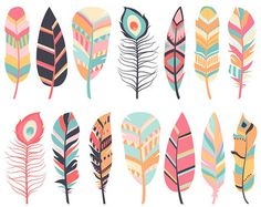 Feather Clipart, Digital Feathers, Feather Clip Art, Pink Feathers, Na… Clipart, Pink Feathers, Blue Feather, Types Of Feathers, Festa Safari Baby, Watercolor Backgrounds, Feather Clip Art, Art Picasso, Baby Mobile