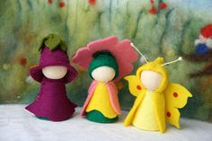 Summer Set Prime rose, foxglove, brimstone butterfly / Flower dollWaldorf Inspired natural Table wooden peg dolls