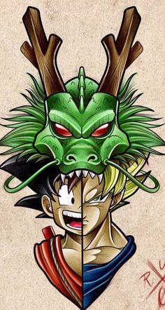 Goku y Shenron, Dragon Ball Z Dragon Ball Gt, Z Tattoo, Ball Drawing, Geniale Tattoos, Animes Wallpapers, Chibi, Anime Art, Pokemon, Anime Characters