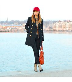 @Who What Wear - Jessannkirby is wearing: J Brand jeans, Forever 21 coat.  Get The Look: Stella McCartney Baseball Cap ($300) in Red  See more ways to wear baseball hats on Pose.com.