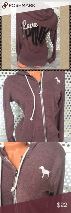 VS PINK Hoodie XS Full Zip crew ⚡️⚡️final sale--VS PINK Victoria's Secret ( shows piling through out) Sz XS Used good condition, soft light material piling/fade present Smoke/pet free  ❤️gladly Bundle⚡️no trades PINK Victoria's Secret Sweaters Crew & Scoop Necks