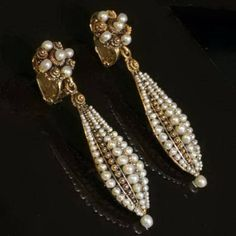 Victorian Clip On Earrings | Victorian pearls gold filigree dangle clip earrings, circa 1850s