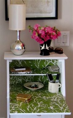 Wallpaper lined secretary desk! Furniture Makeover, Cool Furniture, Painted Furniture, Furniture Ideas, Small Space Living, Small Spaces, Fold Down Desk, Living Room Bookcase, Wallpaper Furniture