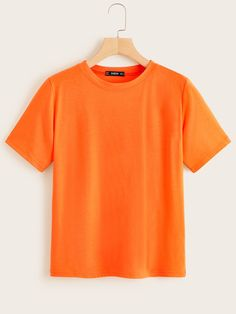 To find out about the Neon Orange Short Sleeve Tee at SHEIN, part of our latest T-Shirts ready to shop online today! Neon Shirts, Orange T Shirts, Latest T Shirt, T Shirt Diy, T Shirts For Women, Clothes For Women, Short Sleeve Tee, Sleeves, Model
