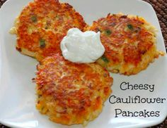Cheesy Cauliflower Pancakes are low carb, super tasty, and perfect for lunch or a side dish.
