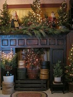 Primitive and Country Christmas Decorating Ideas - via Over the Edge Design
