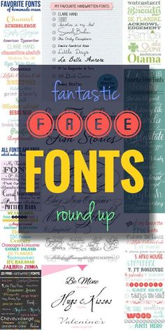 Fantastic Free Fonts Round Up. I'm always looking for the perfect fonts for my projects!  | onelittleproject.com