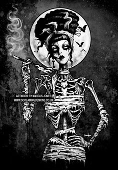 Gothic, Zombie Pinup ,Pinup Rockabilly, Skeleton, Hotrod, dark Art Print by Marcus Jones
