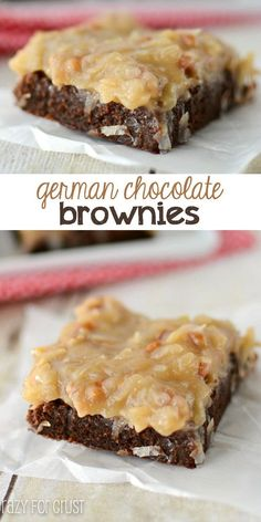 German Chocolate Brownies - the perfect fudgy brownie recipe topped with coconut pecan frosting!