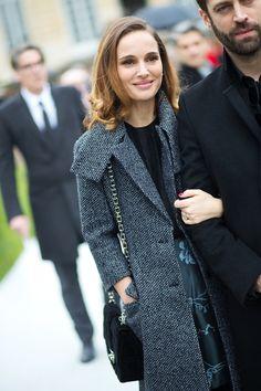 Natalie Portman in Dior at Paris Fashion Week from HarpersBAZAAR.com