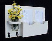 Mail Organizer - Mail Holder - Mail and Key Holder - Letter Holder -Key Hooks - Jar Vase - Organizer. $24.95, via Etsy.