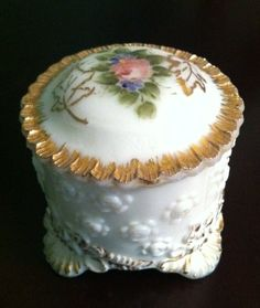Milk Glass Dresser Box with Charleton Rose by FrannieBee on Etsy, $32.00