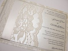 TAMARA Real Lace Wedding Invitations by LavenderPaperie1 on Etsy, $675.00 rediculous price but so cute