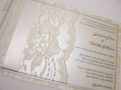 TAMARA Real Lace Wedding Invitations. via Etsy.