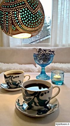 olohuone,sininen,kattaus,kahvikuppi,kutsuva