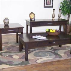 Bundle-80 Espresso Coffee Table Set (4 Pieces) by Sunny Designs. $1207.78. [***INCLUDED IN THIS SET: (1)Espresso Coffee Table, (1)Espresso Console Table, (2)Espresso End Table] Features: -Transitional style.-One drawer.-Brushed nickel handle.-End table and sofa table is optional. Includes: -Set includes coffee table and end table. Assembly Instructions: -Assembly required. Collection: -Espresso collection.