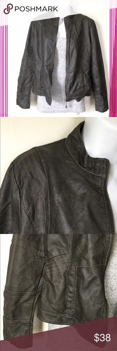 Dark Gray Faux Leather Jacket Never worn! Beautiful light weight fully lined dark gray faux leather jacket. Wonderful detailing & very soft to the touch. Full zip. Jackets & Coats