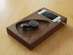 Wooden iPhone Dock and Accessories holder