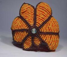 Macrame; Bracelet; Daisy; Agta stone;  Automatic buttons