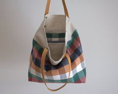 "Tote bag, checked linen bag, bag fabric, canvas bag with leather handles 15""x15"""