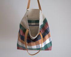"Tote bag, checked linen bag, bag fabric, canvas bag with leather handles 15""x15"""