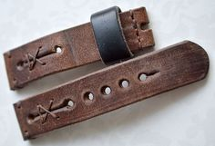 Heavy leather rusty brown watch strap by VladislavKostetskyi