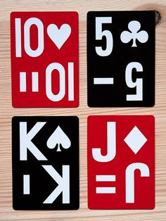 ezc playing cards - developed for the visually impaired but very beautiful as well. - via designsponge House Of Cards, Deck Of Cards, Graphic Design Typography, Graphic Design Illustration, Poker, Roulette, Oracle Cards, Up Girl, Funny Art