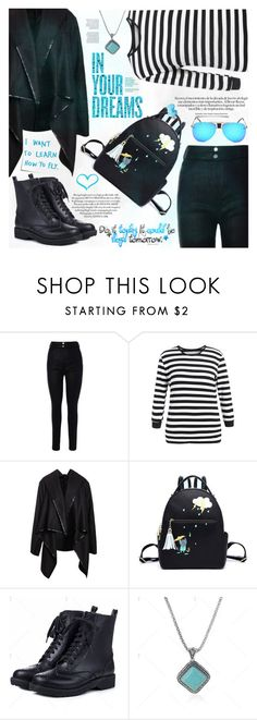 """""""Street Style"""" by katjuncica ❤ liked on Polyvore featuring Post-It, StreetStyle, black, stripes, ankleboots and asymmetricalcoat"""
