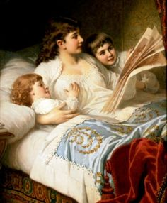 Anton Ebert (1845-1896). A family that sleeps together sticks together